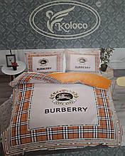 Комплект постельного  белья двухсторонний Сатин Эксклюзив Барберри Премиум качество   Евро размер Оранжевый