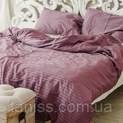 Двухспальный набор постельного белья из страйп-сатина, 100% хлопок, фрезовый