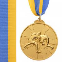 Медаль спортивна зі стрічкою двоколірна 6,5 см Боротьба (метал, покриття 2 тони; золото, срібло, бронза) 10шт
