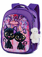 Рюкзак ортопедический школьный для девочки 1-3 класс Черные котики SkyName R4-405