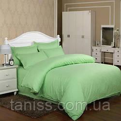 Двухспальный набор постельного белья из страйп-сатина, 100% хлопок, зеленая мята