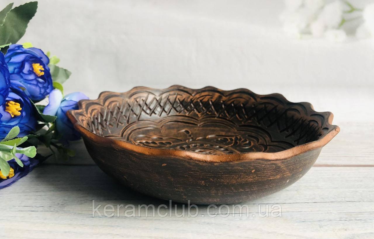 Глиняная фруктовница ручной работы d 16 см