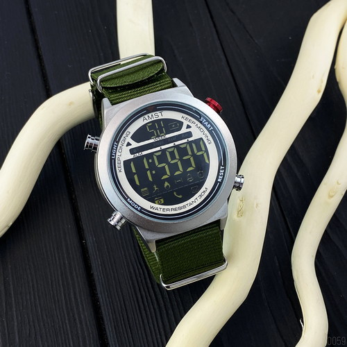 AMST 3017 Silver-White-Green Wristband