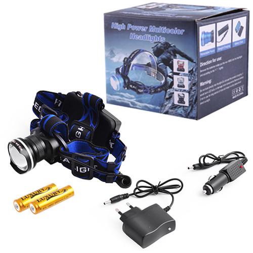 Налобный фонарь XQ-24-T6, ЗУ 220V/12V, 2x18650, signal light, zoom