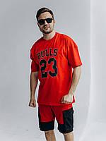 Комплект спортивный мужской летний стильный шорты и красная футболка с надписью прогулочный