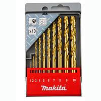 Набір свердел по металу HSS-TIN Makita 10 шт (D-43561)