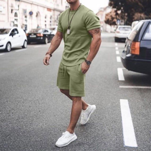 Мужской стильный легкий удобный летний спортивный костюм шорты и футболка много цветов