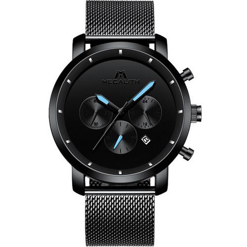 Megalith 8021M Наручные кварцевые часы в модели 8021M со стандартными функци Black-Light Blue Metall
