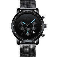 Megalith 8021M Наручные кварцевые часы в модели 8021M со стандартными функци Black-Light Blue Metall, фото 1