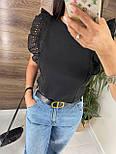 Річна блуза жіноча з мереживними оборками на плечах (р. 42, 44) 8113489, фото 2