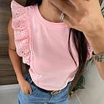 Річна блуза жіноча з мереживними оборками на плечах (р. 42, 44) 8113489, фото 5