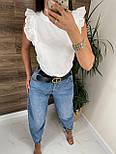 Річна блуза жіноча з мереживними оборками на плечах (р. 42, 44) 8113489, фото 3