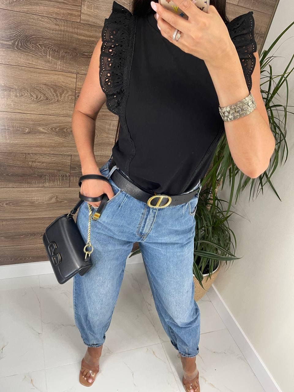 Річна блуза жіноча з мереживними оборками на плечах (р. 42, 44) 8113489