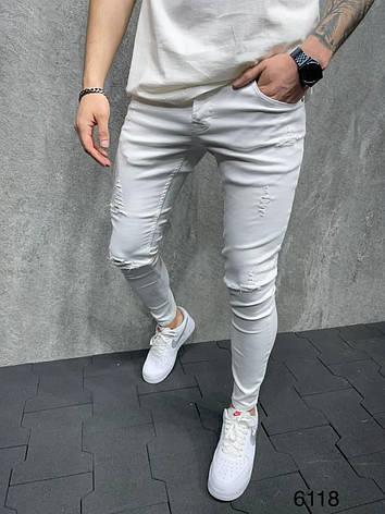 Джинсы мужские белые с рваными коленями с чёрными полосками лампасами Турция, фото 2