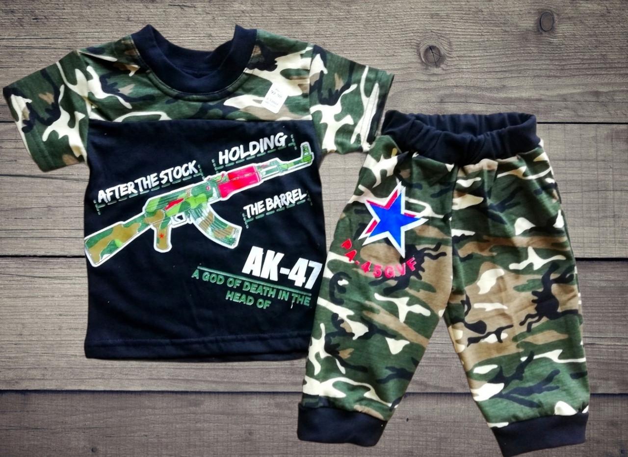 Дитячий літній костюм камуфляжний футболка і бриджі для хлопчика AK-47 розміри 92-98 см