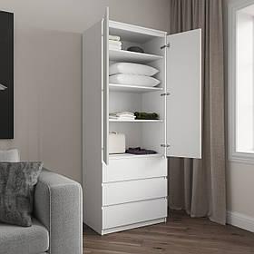 Шкаф для одежды на 3 выдвижных ящика c полками, фасады без ручек R-16