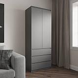 Шкаф для одежды на 3 выдвижных ящика c полками, фасады без ручек R-16, фото 4
