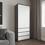 Шкаф для одежды на 3 выдвижных ящика c полками, фасады без ручек R-16, фото 9