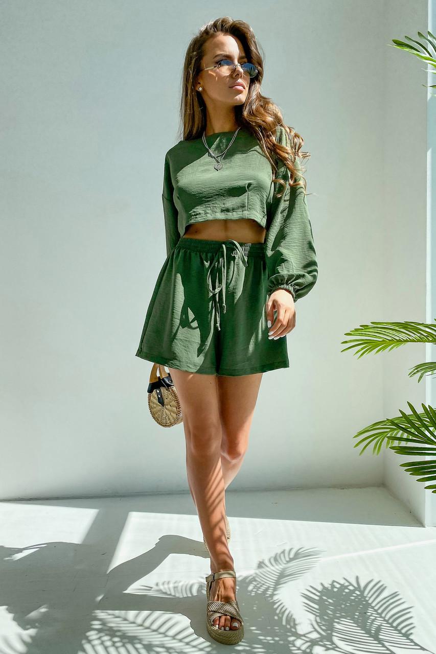 Костюм женский легкий летний шорты и топ зеленый