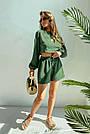 Костюм женский легкий летний шорты и топ зеленый, фото 2
