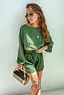 Костюм женский легкий летний шорты и топ зеленый, фото 3