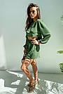 Костюм женский легкий летний шорты и топ зеленый, фото 5