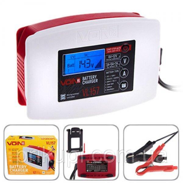 Зарядний пристрій VOIN VL-157 6&12V/3-5-7A/3-150AHR/LCD/Імпульсне (VL-157)
