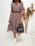 Легкое натуральное платье миди с мелким цветочным принтом, ткань штапель  S,M,L,XL, фото 5
