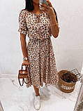 Легкое натуральное платье миди с мелким цветочным принтом, ткань штапель  S,M,L,XL, фото 2