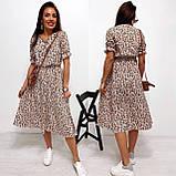 Легкое натуральное платье миди с мелким цветочным принтом, ткань штапель  S,M,L,XL, фото 3