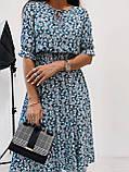 Легкое натуральное платье миди с мелким цветочным принтом, ткань штапель  S,M,L,XL, фото 9