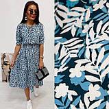 Легкое натуральное платье миди с мелким цветочным принтом, ткань штапель  S,M,L,XL, фото 4