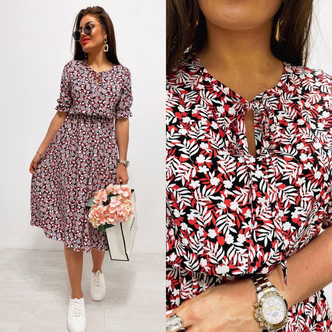 Легкое натуральное платье миди с мелким цветочным принтом, ткань штапель  S,M,L,XL