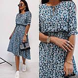 Легкое натуральное платье миди с мелким цветочным принтом, ткань штапель  S,M,L,XL, фото 7