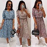 Легкое натуральное платье миди с мелким цветочным принтом, ткань штапель  S,M,L,XL, фото 10