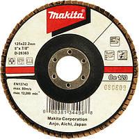 Пелюстковий диск для нержавіючої сталі з керамічним зерном Makita 125 мм K120 похилий (D-28363)