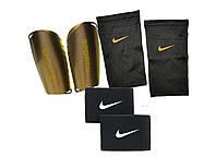 Щитки футбольные SPORTS (черные) держатели (сеточки) NIKE, тейпы (резинки) для щитков NIKE Найк черные