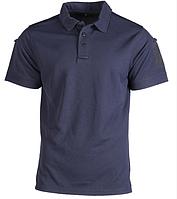 Тактическая потоотводящая футболка-поло Mil-tec темно-синяя