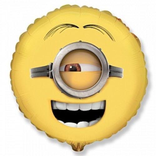 Шар Миньоны круг 46см (гелий)