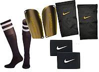 Щитки для футбола SPORTS (черные) держатели(сеточки) NIKE, тейпы (резинки) для щитков NIKEНайк, гетрычерные