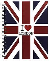 """Тетрадь на спирали с пластиковой обложкой """"Английский флаг"""" А5 (14,8*21,0СМ) 120л"""