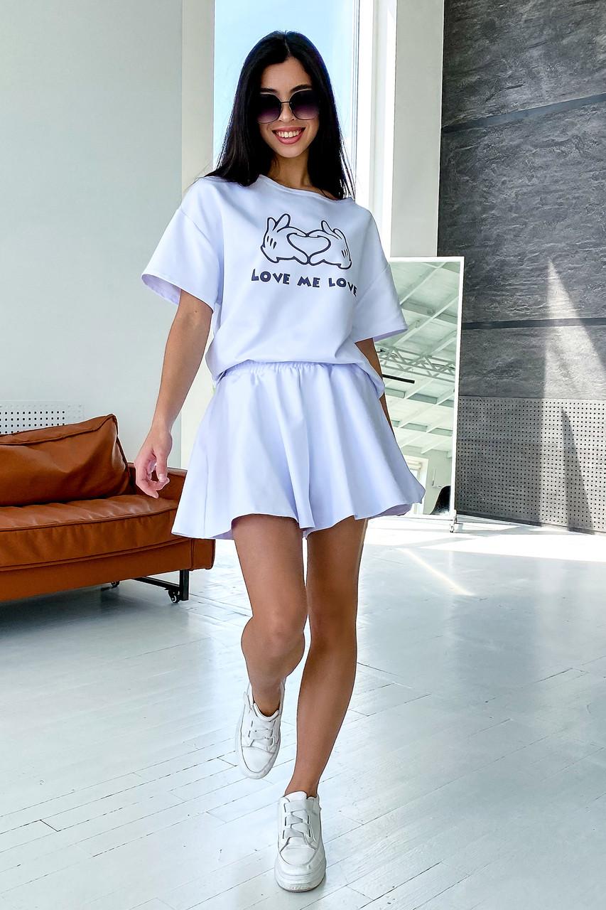Білий літній костюм спідниця шорти з принтом