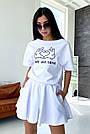 Білий літній костюм спідниця шорти з принтом, фото 3