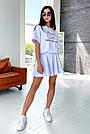 Білий літній костюм спідниця шорти з принтом, фото 2