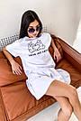 Білий літній костюм спідниця шорти з принтом, фото 4