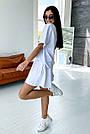 Білий літній костюм спідниця шорти з принтом, фото 5