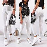 Стильные удобные белые стрейчевые джинсы Skinny с завышенной талией   S,M,L,XL, фото 4