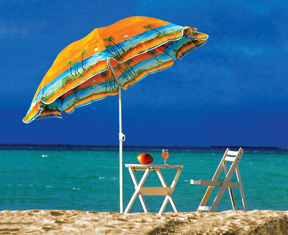 Пляжний зонт пальма 1.80 м, з нахилом і напилением