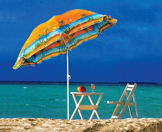 Пляжний зонт пальма 1.80 м, з нахилом і напилением, фото 2
