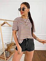 Жіноча футболка в полоску з відкритою спиною, фото 1